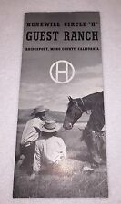 =Vintage Hunewill Circle H Guest Ranch 1940's Mono Cnty California Map Brochure
