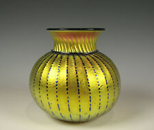 Lundberg Studios Iridescent Gold Art Glass Vase