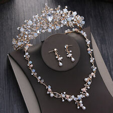 Wedding Bridal Crystal Pearl Gold Crown Tiara Necklace Earrings Jewelry Set Prom