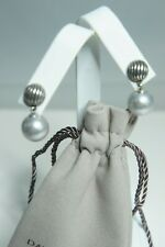 David Yurman 925 Silver Grey Pearl Sculpted ELEMENTS Drop Earrings With DY Pouch