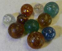 #11800m Vintage Group or Bulk Lot of 10 Rough German Handmade Mica Marbles