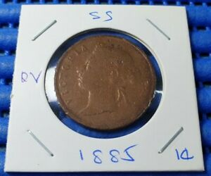 1885 Straits Settlements Queen  Victoria One Cent Coin