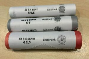 Estonia 2018 UNC Mint Coin Roll set. 3 rolls: 1c, 2c and 5c. KM#61-63