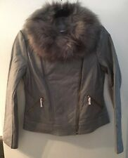 IMAN Platinum Collection Quilted Leather Jacket With Faux Fur Size Small New