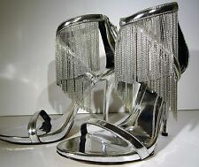 B BRIAN ATWOOD Condessa Fringe Sandle Shoe Sz 8.5 Chain Silver Leather