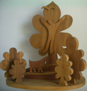 Abstract Wood Art Wall/Table Sculpture THE HANGED MAN - MID-CENTURY MODERN '60s