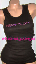 Ltd Ed NEW Victoria's Secret VERY SEXY Black Pink Bling Tank Top One Size