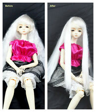 "1/3 8-9"" BJD SD DZ DOD LUTS Recurlable Doll Wig White Long Wavy w/ Bangs"