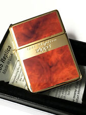 Zippo 1935 Replica G Line Brown Gold Tank Gold Plating Etching Japan Limited F/S