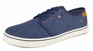 Wrangler Derby Canvas Mens Casual Lace Up Memory Foam Trainers Shoes Navy Blue