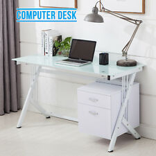 Glass Top Computer Desk With Side 2 Drawers Home Office PC Dressing Table White