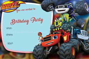 Boy/Girl Blaze and the Monster Machines Birthday Party Invites B2