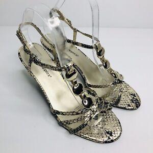 HUSH PUPPIES Size US 8 EU 39 Black Gold 'Stamp' Strappy Kitten Heel Sandals
