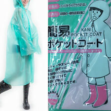 PINK BLUE Transparent Long Raincoat Waterproof Hooded Jacket Coat Poncho Outwear
