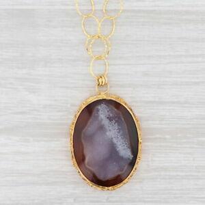"New Nina Nguyen Druzy Quartz Agate Pendant Necklace Sterling Silver 22k Gold 19"""