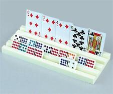 "Set of 4 Plastic Domino & Card Holders 12"" long  4 Groove Ivory / Cream Color"
