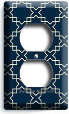 Teal Blue Arabic Trellis Ornament Pattern Outlet Cover Wall Plate Room Art Decor