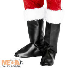 Santa Claus Black Boot Covers Father Christmas Fancy Dress Mens Costume Acc