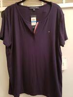 Tommy Hilfiger Women's T-Shirt Split Neck Tee Short Sleeve Size XL NEW