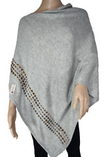 NHZ~Exclusive~Cashmere~Poncho~Boat Neck~Gray Color  Cashmere~Handmade in Nepal