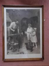 More details for vtg 1912 signed advertising bovril print blacksmith hula hoop toy children horse