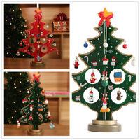 3D Wooden Mini Christmas Tree Snowman Ornament Kids Desk Table Decoration Gift