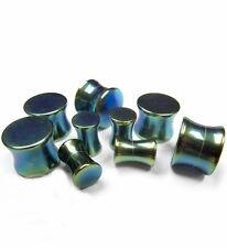 "PAIR-Titanium IP Blue Green Solid Double Flare Plugs 12mm/1/2"" Gauge Body Jewel"