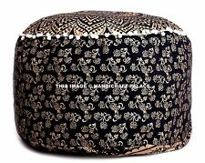 "22"" New Indian Mandala Pouf Ottoman Black Gold Printed Footstool Pouf Cover Boho"