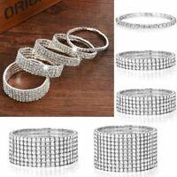 Fashion Wedding Bridal Crystal Rhinestone Stretch Bracelet Bangle Wristband New