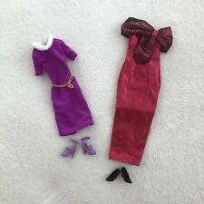 Vintage Barbie Doll Clothes Pink & Purple Chain Dress W/ Shoes Set Lot of 2