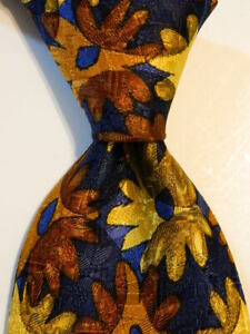 ERMENEGILDO ZEGNA Men's 100% Silk Necktie ITALY Luxury FLORAL Blue/Multi EUC
