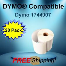 Dymo® Compatible 1744907  20 Rolls  White Rectangular Shaped Labels
