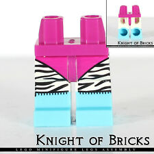 Lego Minifigure Legs MAGENTA Hips and WHITE Back Zebra Stripes AZURE Boots