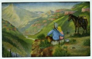 "Cowboy Artist & Poet L.H. ""Dude"" Larsen Dreaming Postcard 1939"