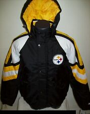 PITTSBURGH STEELERS STARTER PRO LINE Hooded Winter Jacket  S, M, L, XL, 2X BLACK