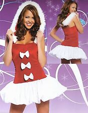 SEXY CHRISTMAS BUBBLE SKIRT RIBBON TRIM RED FANTASY COSPLAY PARTY COSTUME / 8-12