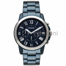 Fossil Original FS5230 Men's Grant Sport Blue Stainless Steel Watch 44mm Chrono