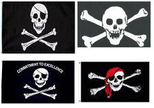 3x5 Jolly Roger Pirate Crossbones Skull Red Bandana 4 Flag Premium Set USA SHIP