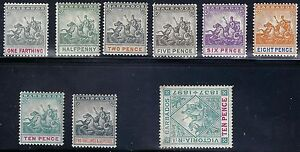 BARBADOS 1892 SG 105 114 SET OF 8 MINT HINGED LARGE TONED STAMP NOT COUNTED