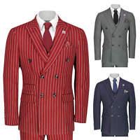 Men's 3 Piece Double Breasted Suit Vintage Chalk Stripe Smart Classic Tailor Fit