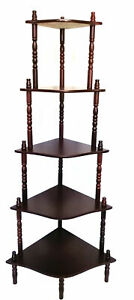 Vintage Wood Corner Stand Shelves Rack Organiser Compact Organiser 5 Tier HW608