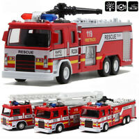 Giant Fire Truck Diecast Model Toy Pull Back Alloy Kid Toy Gift With Light Sound