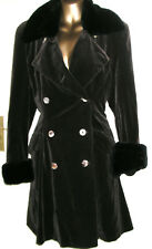 Vintage Brown Velvet Black Faux Fur Collar & Cuffs Fitted Coat by Wallis UK 12