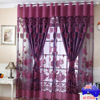 Home Door Window Floral Tulle Sheer Drape Panel Voile Curtain Scarf Valances Hot