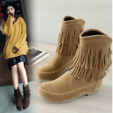 Womens Vogue Boho Faux Suede Fringe Tassel Pull On Flat Ankle Boots Shoes giaa