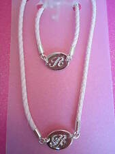 CRYSTAL INITIAL R PINK ROPE NECKLACE AND BRACELET SET