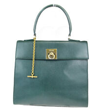 Authentic CELINE PARIS Logo Hand Bag Leather Green Gold Made In Italy 69EY922