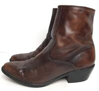 Vintage Acme Men's Ankle Boots sz 9 D Zip Ankle Western Brown Distressed Leather