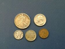 1937 Year Set, Nice - Half Dollar, Quarter, Dime, Nickel and Cent; Silver