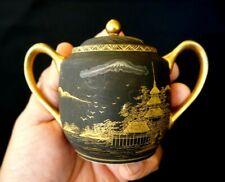 Beautiful Satsuma Vintage Japanese Hand Painted Eggshell Porcelain Lidded Sugar